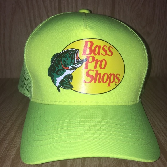 8837a3b4 Bass Pro Shops Accessories   Neon Yellow Mesh Trucker Hat   Poshmark